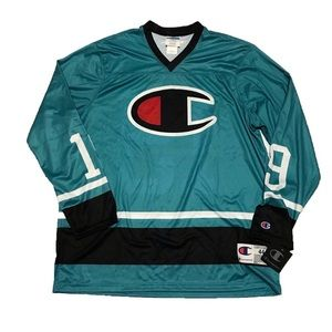 Champion Mens Teal HockeyJersey Size Large L